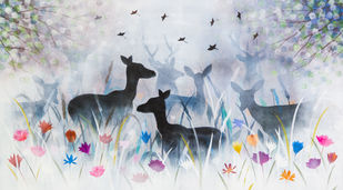 Song of the forest by Priyanka Waghela, Fantasy Painting, Acrylic on Canvas, Gray color