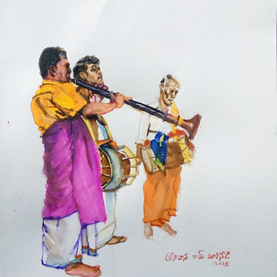 Temple Musicians by Sreenivasa Ram Makineedi, Impressionism Painting, Watercolor on Paper, Gray color