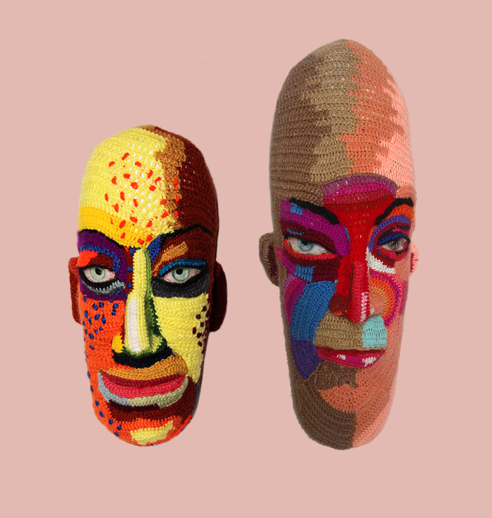 Couple face 19 by Archana Rajguru, Art Deco Sculpture | 3D, Mixed Media, Pink color