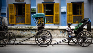 The Sudder Street Rickshaw by Gautam Vir Prashad, Image Photography, Giclee Print on Hahnemuhle Paper, Gray color
