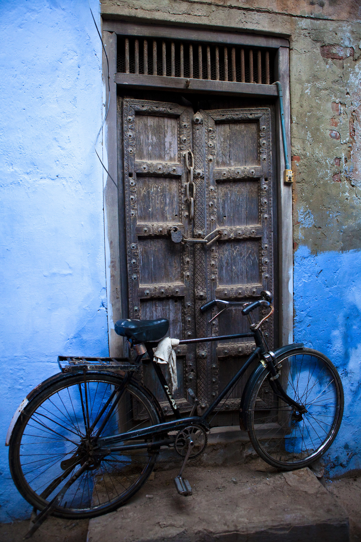 The Blue Dorrway Bicycle by Gautam Vir Prashad, Image Photography, Giclee Print on Hahnemuhle Paper, Gray color
