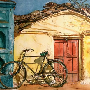 Pure Radiance by Uday Bhan, Impressionism Painting, Watercolor on Paper, Beige color