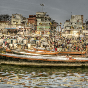Varanasi Ghats by Gautam Vir Prashad, Image Photography, Giclee Print on Hahnemuhle Paper, Brown color
