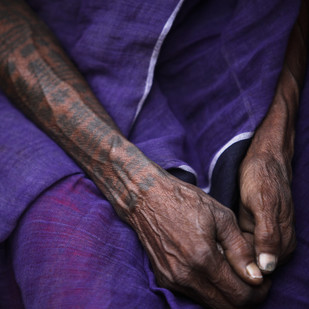 Tattooed Arm by Gautam Vir Prashad, Image Photography, Giclee Print on Hahnemuhle Paper, Blue color