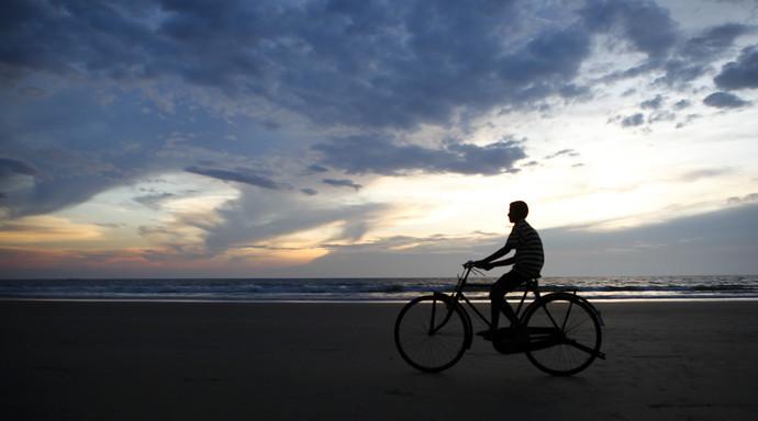Sunset Biker by Gautam Vir Prashad, Image Photography, Giclee Print on Hahnemuhle Paper, Gray color