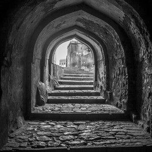 Tunnel Through Time by Gautam Vir Prashad, Image Photography, Giclee Print on Hahnemuhle Paper, Gray color