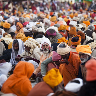 Gathering of the Sadhus by Gautam Vir Prashad, Image Photography, Giclee Print on Hahnemuhle Paper, Brown color
