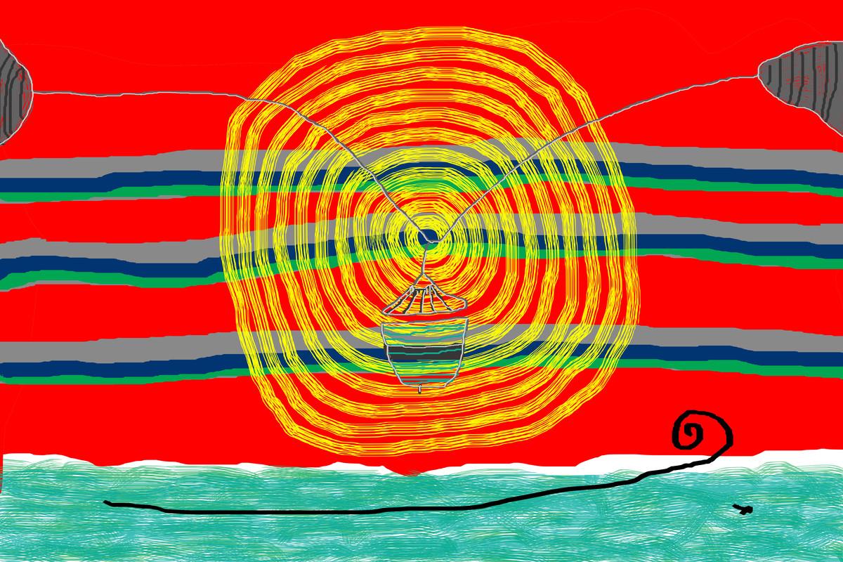 Music of Colour-06 by Ravi Shekhar, Digital Digital Art, Digital Print on Canvas, Red color