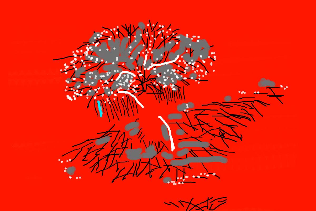 Music of Colour-07 by Ravi Shekhar, Digital Digital Art, Digital Print on Canvas, Red color