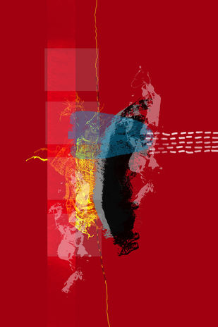 Music of Colour-08 by Ravi Shekhar, Digital Digital Art, Digital Print on Canvas, Red color