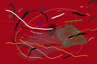 Music of Colour-09 by Ravi Shekhar, Abstract Digital Art, Digital Print on Canvas, Red color
