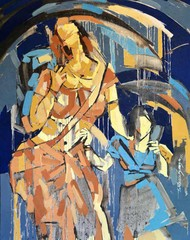 MOTHER AND DAUGHTER by Wilson Souza, Expressionism Painting, Oil on Canvas, Brown color