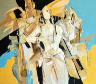 GROUP OF WOMEN by Wilson Souza, Expressionism Painting, Oil on Canvas, Beige color