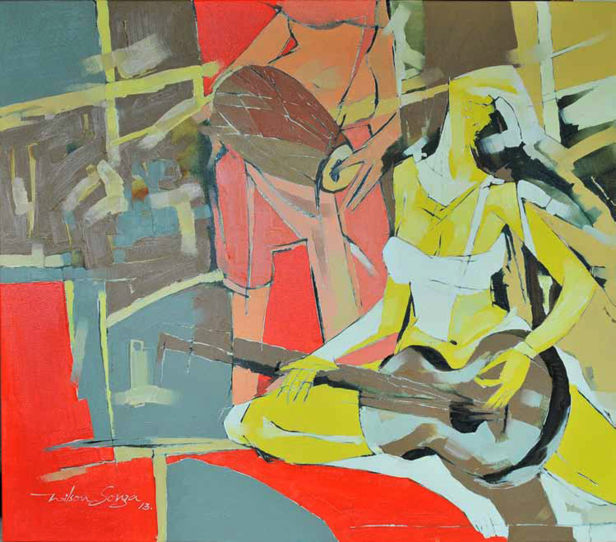 MUSICAL ECSATCY 4 by Wilson Souza, Expressionism Painting, Oil on Canvas, Beige color