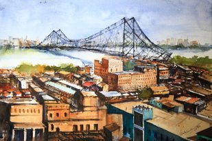 The Howrah Bridge by Krishnendu Chatterjee, Impressionism Painting, Watercolor on Paper, Brown color