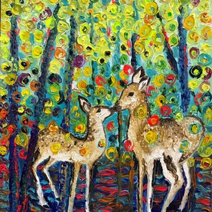 First Encounter by Konika Banerjee, Expressionism Painting, Oil on Canvas, Green color