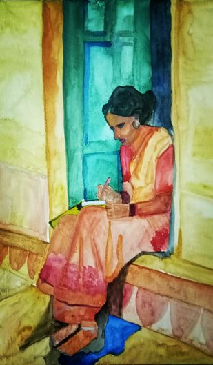 The writer by Rupinder kaur, Expressionism Painting, Watercolor on Paper, Brown color