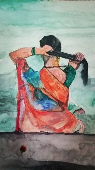 The holy dip by Rupinder kaur, Expressionism Painting, Watercolor on Paper, Cyan color