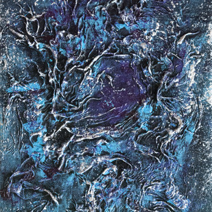 Metamorphosis_02 by Smita Biswas, Abstract Painting, Mixed Media on Canvas, Blue color