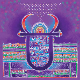 RP005 Monsoon Angel by Dr. Bharati Mate, Expressionism Painting, Mixed Media on Canvas, Purple color