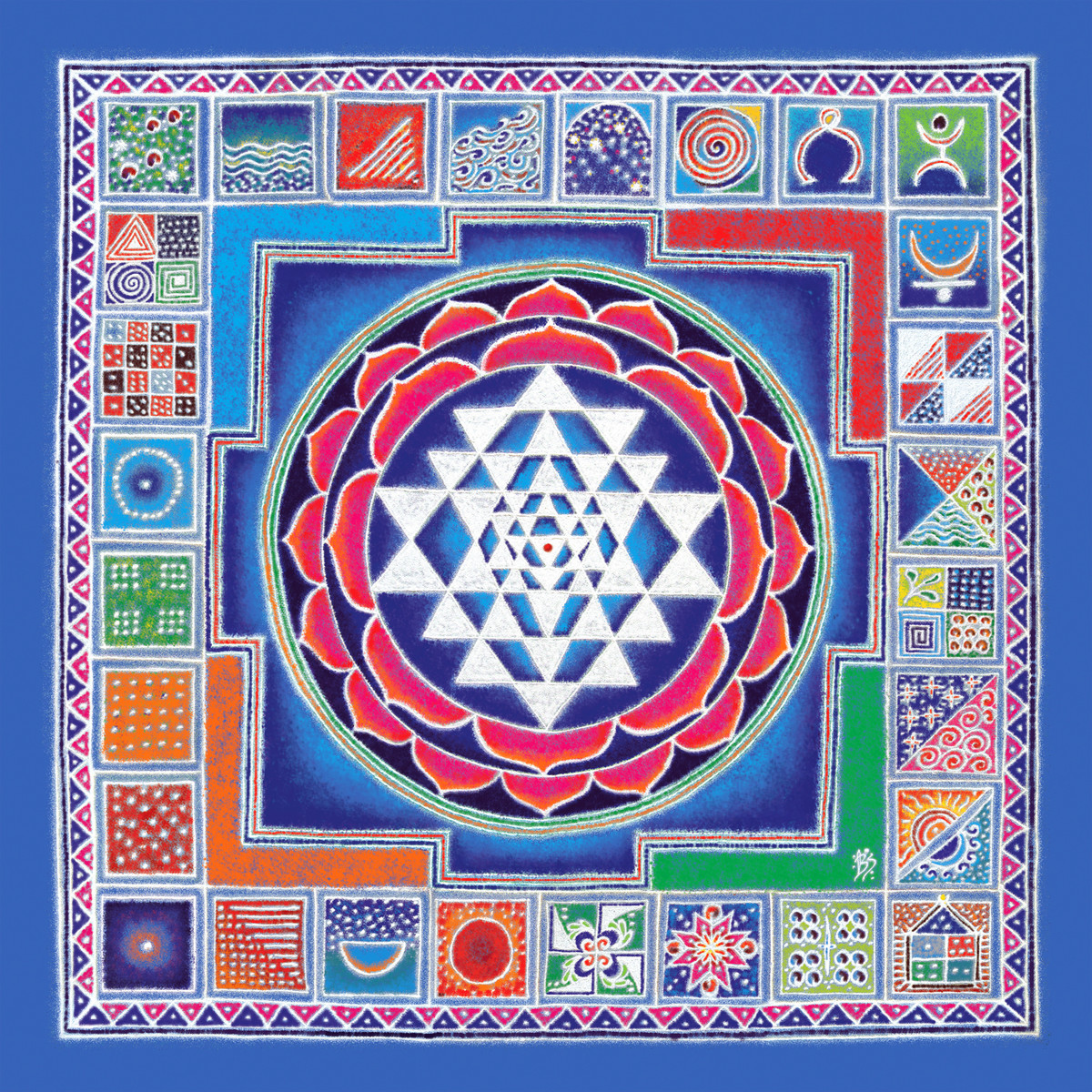 RP006 Sri-Yantra by Dr. Bharati Mate, Geometrical Painting, Mixed Media on Canvas, Blue color