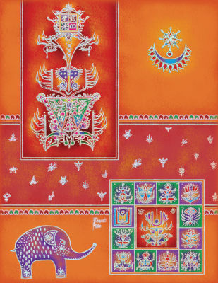 RP017 Laxmi Digital Print by Dr. Bharati Mate,Traditional