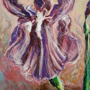 Iris by Shalini Sinha, Impressionism Painting, Oil Pastel on Paper, Brown color