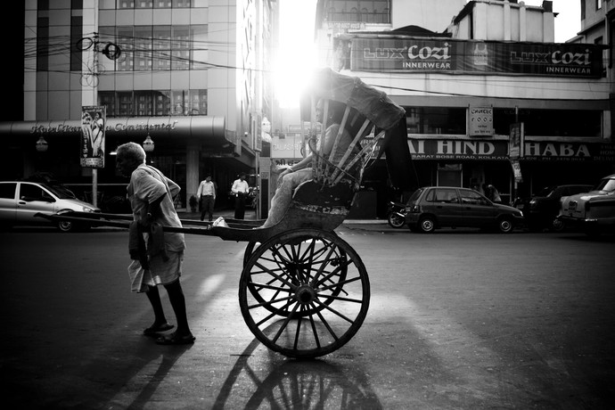 Rickshaw Sunset by Gautam Vir Prashad, Image Photography, Giclee Print on Hahnemuhle Paper, Gray color