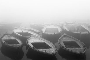Boats in the Fog by Gautam Vir Prashad, Image Photography, Giclee Print on Hahnemuhle Paper, Gray color