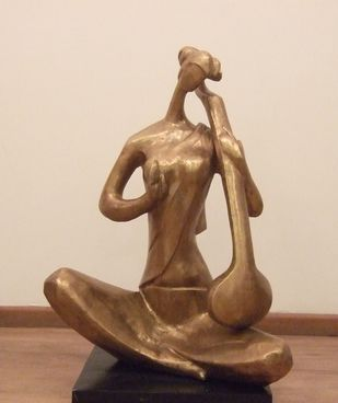 Saraswati by Tapas Sarkar, Art Deco Sculpture | 3D, Bronze, Beige color