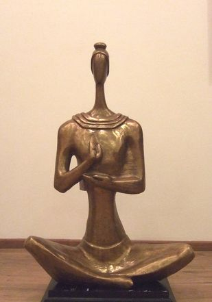 Meditation by Tapas Sarkar, Art Deco Sculpture | 3D, Bronze, Beige color