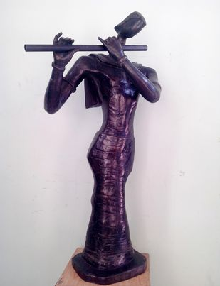Krishna by Tapas Sarkar, Art Deco Sculpture | 3D, Bronze, Gray color