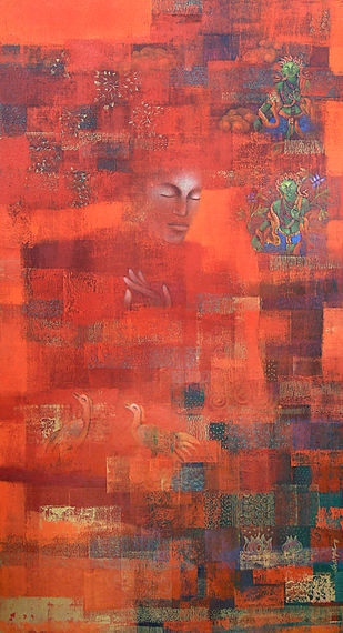 The World Tree by Shampa Sircar Das, Abstract Painting, Acrylic on Canvas, Brown color