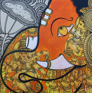 Ganesha by Ramesh Gorjala, Traditional Painting, Acrylic on Canvas, Brown color