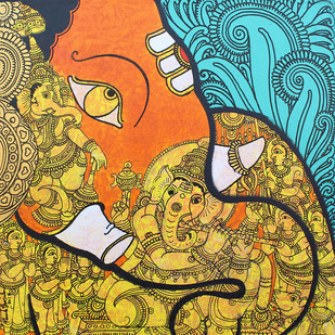 Ganesha by Ramesh Gorjala, Traditional Painting, Acrylic on Canvas, Beige color