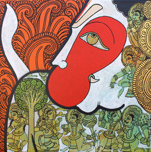 Hanuman by Ramesh Gorjala, Traditional Painting, Acrylic on Canvas, Brown color