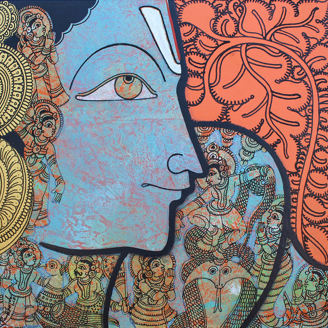 Vishnu by Ramesh Gorjala, Traditional Painting, Acrylic on Canvas, Brown color