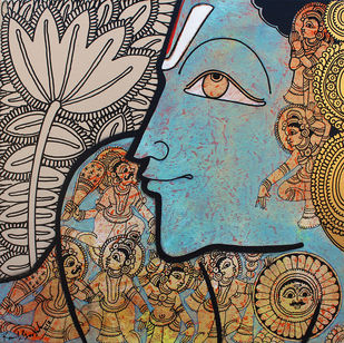 Vishnu by Ramesh Gorjala, Traditional Painting, Acrylic on Canvas, Brown color