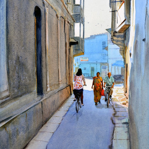 Riding through the bylanes by Ramesh Jhawar, Impressionism Painting, Watercolor on Paper, Gray color