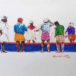 Fishermen and net. by Sreenivasa Ram Makineedi, Impressionism Painting, Ink on Paper, Gray color