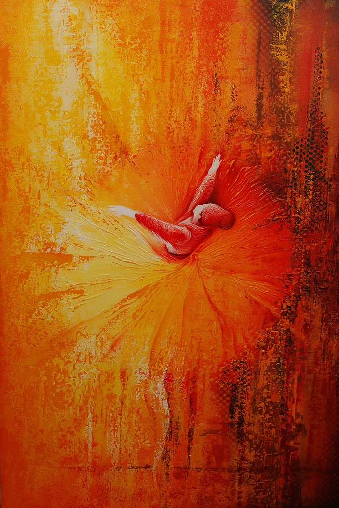 Khurshid by Radhika Seksaria, Expressionism Painting, Mixed Media on Canvas, Orange color
