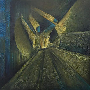 Ataman by Radhika Seksaria, Expressionism Painting, Mixed Media on Canvas, Green color