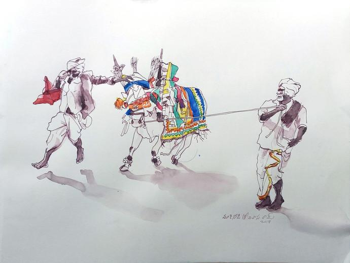 Perfoemance. by Sreenivasa Ram Makineedi, Impressionism Painting, Watercolor Wash on Paper, Gray color