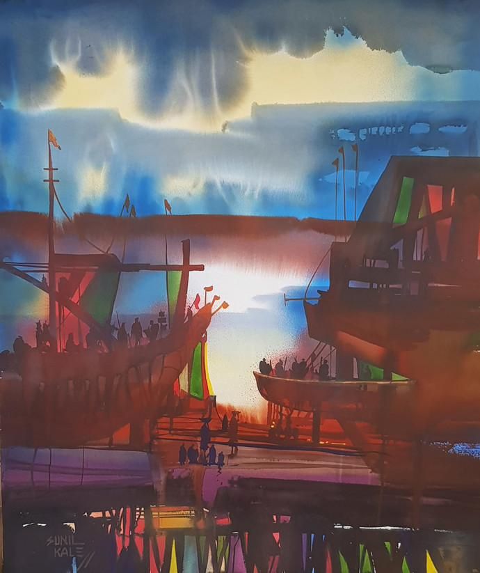 Ocean Moods by Sunil Kale, Impressionism Painting, Watercolor on Paper, Brown color