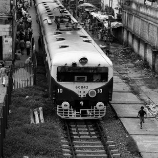Racing Trains by Gautam Vir Prashad, Image Photography, Giclee Print on Hahnemuhle Paper, Gray color