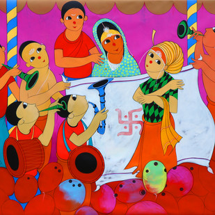 indian wedding by Dnyaneshwar Bembade, Expressionism Painting, Acrylic on Canvas, Red color