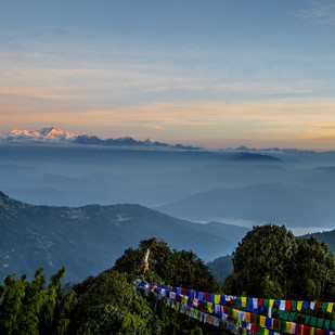 Prayer Flags and the Mountain by Gautam Vir Prashad, Image Photography, Giclee Print on Hahnemuhle Paper, Blue color