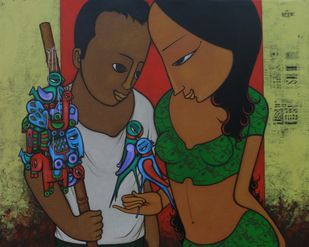 AFFECTION by Hitendra Singh Bhati, Expressionism Painting, Acrylic on Canvas, Brown color