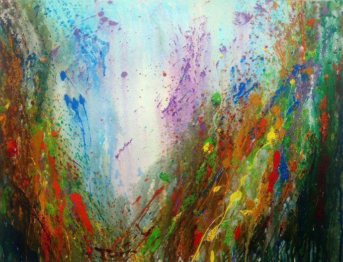 Transparent Lover of Nature by Anshu, Abstract Painting, Acrylic on Canvas, Green color
