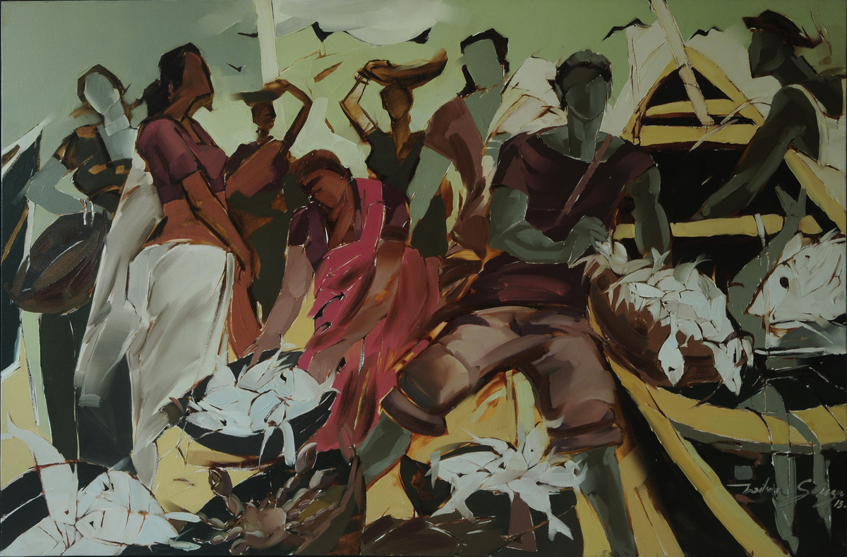 The Best Catch by Wilson Souza, Expressionism Painting, Oil on Canvas, Brown color